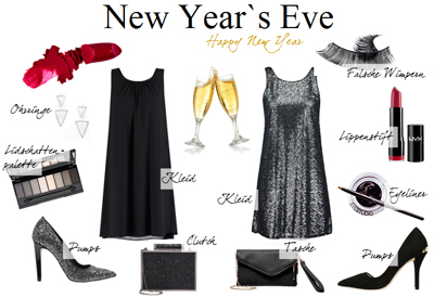 Silvester Outfit Inspiration kleid schwarz glitzer silver rote lippen pumps