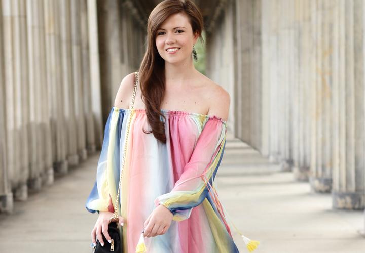 Justmyself-Fashionblog-Deutschland-Regenbogenkleid-Shein-Sommerkleid-Off-Shoulder-bunt-3