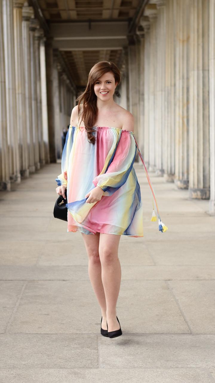 Justmyself-Fashionblog-Deutschland-Regenbogenkleid-Shein-Sommerkleid-Off-Shoulder-bunt-9