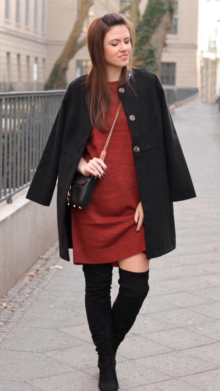 pinterest made me love it braunes strickkleid overknees und schwarzer mantel justmyself. Black Bedroom Furniture Sets. Home Design Ideas
