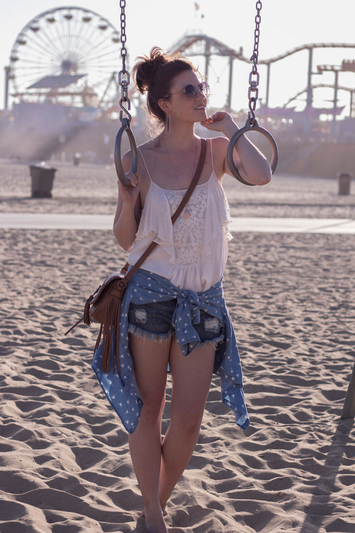 one teapoon shorts palmenprint jeanshemd santa monica beach outdoor sport los angeles fashionblog