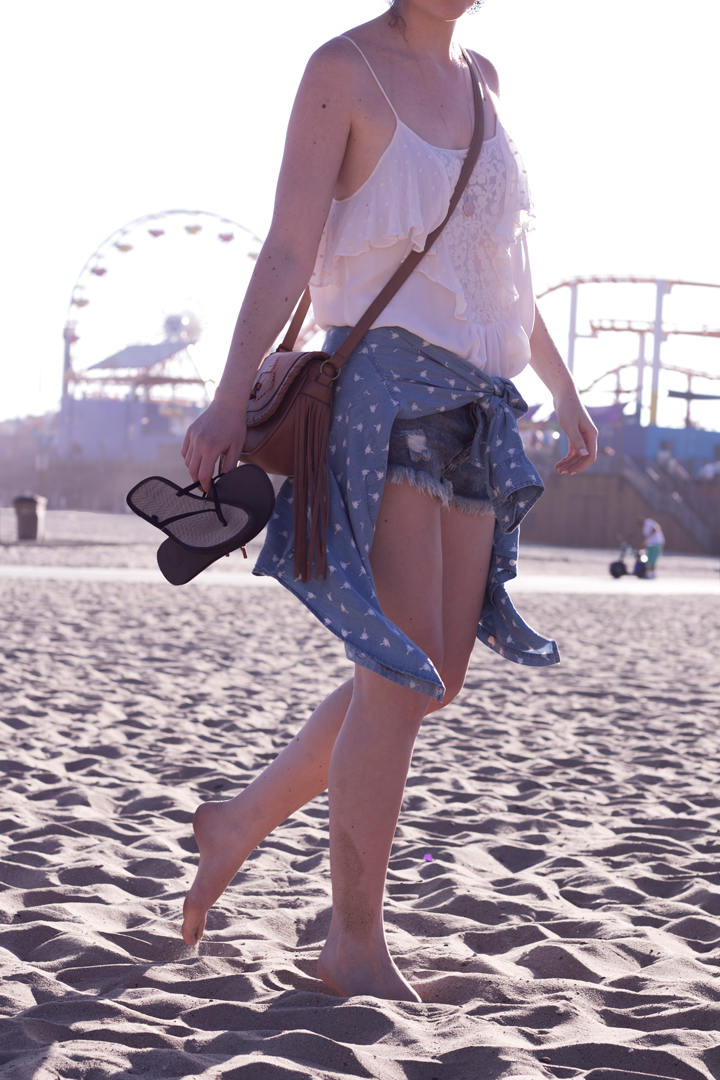one teapoon shorts palmenprint jeanshemd santa monica beach los angeles fashionblog