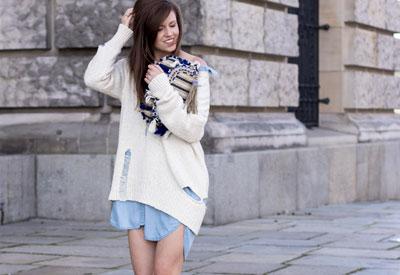 Hemdkleid Pullover mit Löcher